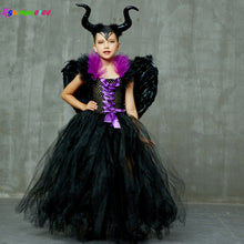 Load image into Gallery viewer, Kids Maleficent Evil Queen Girls Halloween Fancy Tutu Dress Costume Children Christening Dress Up Black Gown Villain Clothes - boo.bootik