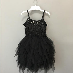 Luxury baby girls feather black tutu dress children girls beading swan prom dress summer fashion kids costume - boo.bootik