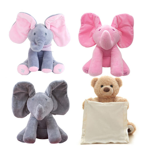 Magic Peek A Boo Elephant; Bear Stuffed Animals&Plush Doll Play Music Elephant Educational Anti-stress Toy Gift For Children - boo.bootik