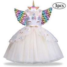 Load image into Gallery viewer, New Girls Dress 3Pcs Kids Dresses For Girl Unicorn Party Dress Christmas Carnival Costume Child Princess Dress 3 5 6 8 9 10 Year - boo.bootik