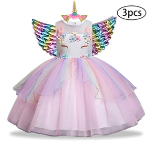 New Girls Dress 3Pcs Kids Dresses For Girl Unicorn Party Dress Christmas Carnival Costume Child Princess Dress 3 5 6 8 9 10 Year - boo.bootik