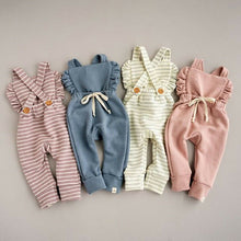 Load image into Gallery viewer, Newborn Baby Clothes Backless Striped Ruffle Romper Overalls Jumpsuit Clothes Baby Girl Clothes Baby Girl Romper Infant Clothing - boo.bootik