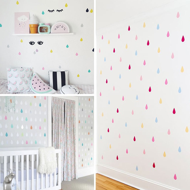 Small raindrop Wall Sticker For Kids Room Baby Girl Room Wall Decor Baby  Boy Room Home Decor Children Bedroom Wall Stickers