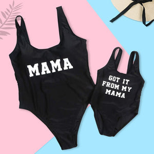Striped Mother Daughter Swimwear One-Piece Mommy and Me Swimsuit Family Look Matching Outfits Mom Mum Daughter Dresses Clothes 1 - boo.bootik
