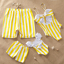 Load image into Gallery viewer, Striped Mother Daughter Swimwear One-Piece Mommy and Me Swimsuit Family Look Matching Outfits Mom Mum Daughter Dresses Clothes - boo.bootik