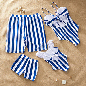 Striped Mother Daughter Swimwear One-Piece Mommy and Me Swimsuit Family Look Matching Outfits Mom Mum Daughter Dresses Clothes 1 2 - boo.bootik