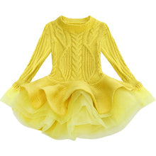 Load image into Gallery viewer, Thick Warm Girl Dress Christmas Wedding Party Mini Dresses Knitted Chiffon Winter Kids Girls Clothes Children Clothes Girl Dress - boo.bootik