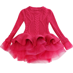 Thick Warm Girl Dress Christmas Wedding Party Mini Dresses Knitted Chiffon Winter Kids Girls Clothes Children Clothes Girl Dress - boo.bootik