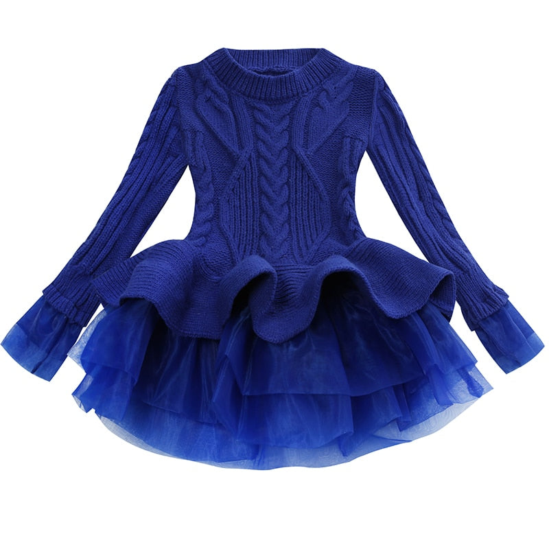 d2ea3eeb97bf7 ... Load image into Gallery viewer, Thick Warm Girl Dress Christmas Wedding  Party Mini Dresses Knitted ...