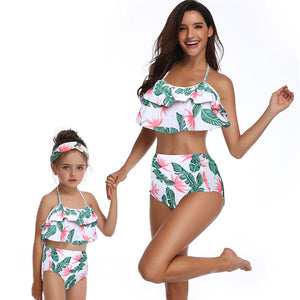 Tropical Baby Swimwear Flowers Mommy and Me Matching Swim Suit Holiday Family Matching Outfit Bathing Wear Holiday Costume 1 - boo.bootik