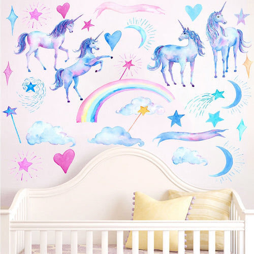 Unicorn wall stickers decals for kids nursery rooms - boo.bootik