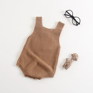 Baby Newborn Toddler Boy | Girl Heart Brown Knitted Romper - boo.bootik