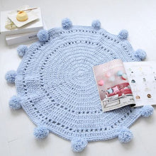 Load image into Gallery viewer, Boobootik Hand woven knitted round mats rugs with pompoms for kids room - boo.bootik