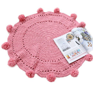Boobootik Hand woven knitted round mats rugs with pompoms for kids room - boo.bootik
