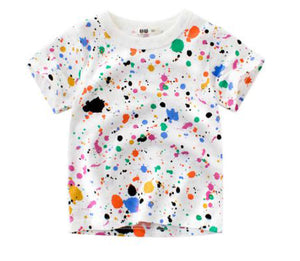 Children's unisex graffiti summer T-shirt paint splash - boo.bootik