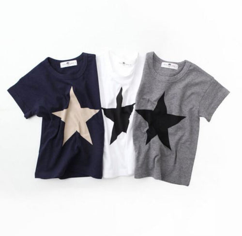 Star t-shirt print casual summer clothing for kids - boo.bootik