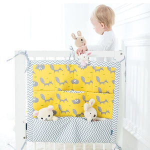 Cotton crib fabric organizer with pockets and ties - bed hanging storage bag for baby cot bed - boo.bootik