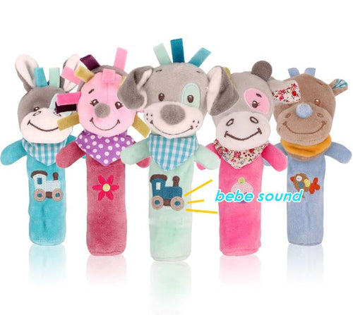 Cute baby toys cartoon animal hand bell rattle soft toddler bebe toys - boo.bootik