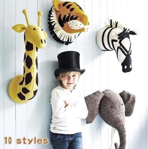 Animals stuffed wool felt heads for kids room decor 3D, baby nursery wall decoration - boo.bootik