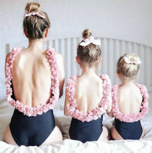 Load image into Gallery viewer, Mother daughter matching pink flower beach one piece swimsuit in black or white - boo.bootik