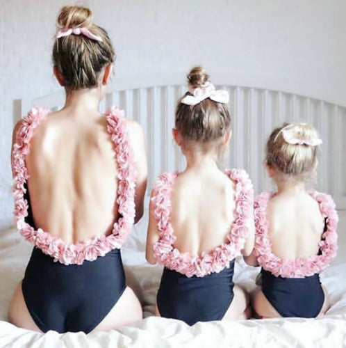 Mother daughter matching pink flower beach one piece swimsuit in black or white - boo.bootik