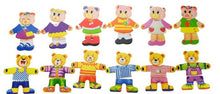 Load image into Gallery viewer, Wooden bear family dressup jigsaw puzzle children's educational early years toys - boo.bootik