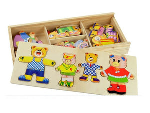 Wooden bear family dressup jigsaw puzzle children's educational early years toys - boo.bootik