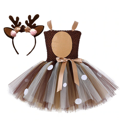 Bambi Tutu with Headband for Girls Party Costume Pretend Play Cosplay Dress - boo.bootik
