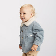 Load image into Gallery viewer, Tailored Boy Baby Toddler Corduroy Outerwear Jacket in Blue - boo.bootik