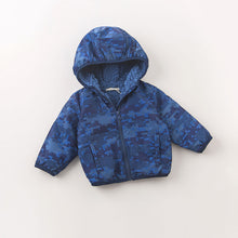 Load image into Gallery viewer, Boy Baby Toddler Padded Hooded Coat Outerwear Jacket in Blue - boo.bootik