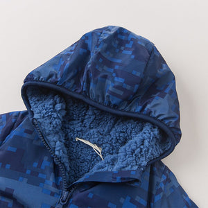 Boy Baby Toddler Padded Hooded Coat Outerwear Jacket in Blue - boo.bootik