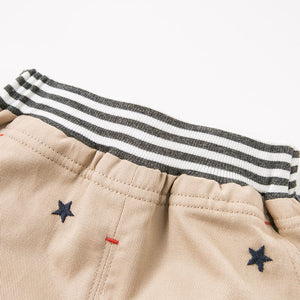Tailored Boy Baby Toddler Pant Bottoms in Brown & Grey with Embroidered Stars - boo.bootik