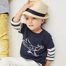 Load image into Gallery viewer, Boys Black Airplane Cartoon Summer Short Sleeve T-shirt - boo.bootik