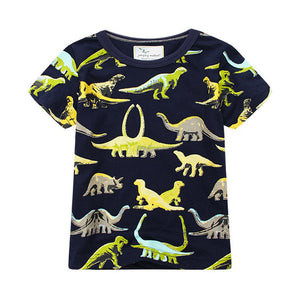 Boys Black Dino Dinosaur Summer Short Sleeve T-shirt - boo.bootik