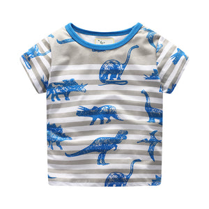 Boys Stripy Dino Dinosaur Summer Short Sleeve T-shirt - boo.bootik