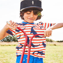 Load image into Gallery viewer, Boys Stripy Dino Dinosaur Summer Short Sleeve T-shirt - boo.bootik
