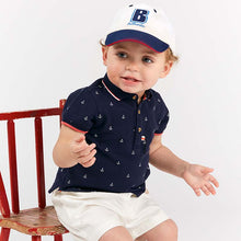 Load image into Gallery viewer, Tailored Boy Baby Toddler Top & Bottom Set in Blue & White Nautical Embroidered Details - boo.bootik