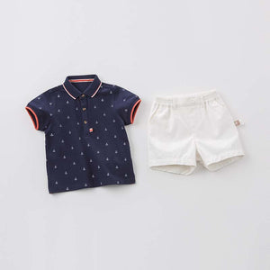 Tailored Boy Baby Toddler Top & Bottom Set in Blue & White Nautical Embroidered Details - boo.bootik