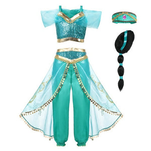 Arabian Princess Jasmine Girls Party Costume Pretend Play Cosplay Dress - boo.bootik