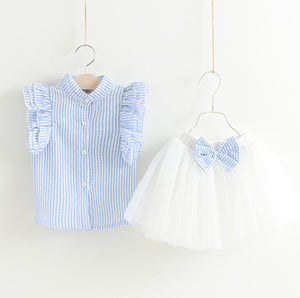 Baby Girl Toddler Ruffled Striped Blouse and Matching Tutu Skirt Two Piece Set - boo.bootik