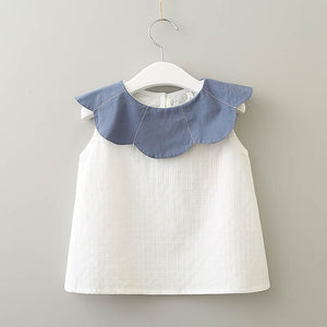 White / Blue Blouse for Baby Toddler  & Girls - boo.bootik