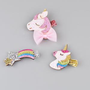 3 Unicorn | Rainbow Hair Clips Girls Glitter Boobootik - boo.bootik