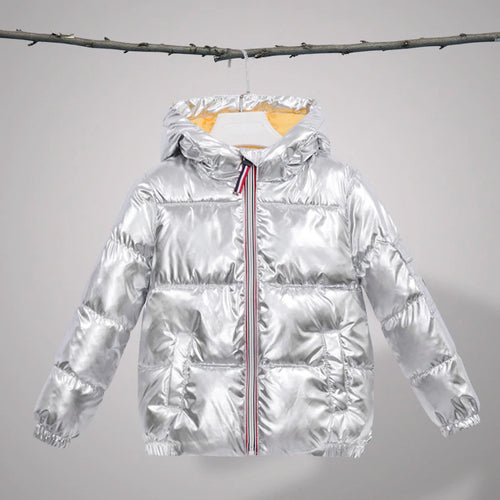 Unisex Kids Silver Gold Black Red Metallic Padded Hooded Coat Outerwear Jacket - boo.bootik