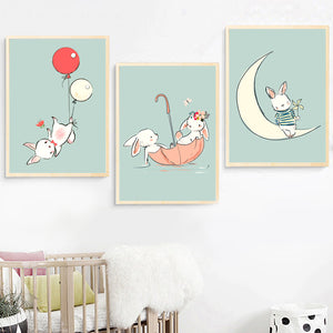 Kids Rabbit & Balloons Illustrations Gifts Wall Art Canvas Decorative Pictures Poster Print Wall Art Room Kids Decor - boo.bootik