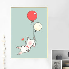 Load image into Gallery viewer, Kids Rabbit & Balloons Illustrations Gifts Wall Art Canvas Decorative Pictures Poster Print Wall Art Room Kids Decor - boo.bootik