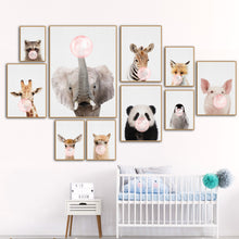 Load image into Gallery viewer, Kids Animals Bubble Gum Girls  Boys Gifts Wall Art Canvas Decorative Pictures Poster Print Wall Art Room Kids Decor - boo.bootik