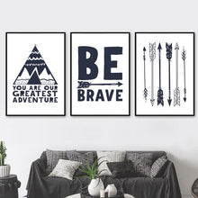 Load image into Gallery viewer, Be Brave Arrow Teepee Illustrations Gifts Wall Art Canvas Decorative Pictures Poster Print Wall Art Room Kids Decor - boo.bootik