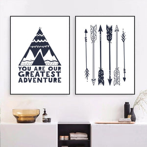 Be Brave Arrow Teepee Illustrations Gifts Wall Art Canvas Decorative Pictures Poster Print Wall Art Room Kids Decor - boo.bootik