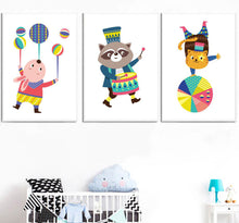 Load image into Gallery viewer, Kids Animals Circus Gifts Wall Art Canvas Decorative Pictures Poster Print Wall Art Room Kids Decor - boo.bootik