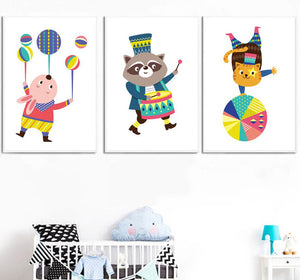 Kids Animals Circus Gifts Wall Art Canvas Decorative Pictures Poster Print Wall Art Room Kids Decor - boo.bootik